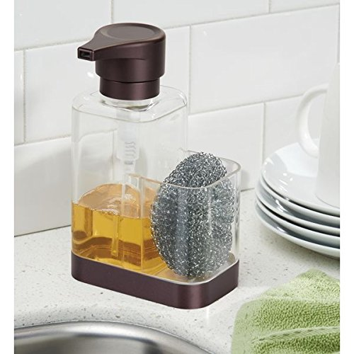 mDesign Modern Plastic Kitchen Sink Countertop Liquid Hand Soap Dispenser Pump Bottle Caddy with Storage Compartment - Holds and Stores Sponges, Scrubbers and Brushes - Clear/Bronze