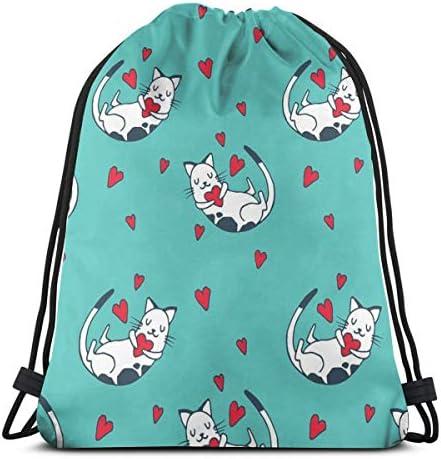 ハートドローストリングバッグのかわいい猫バックパックジムダンスバッグバックパックハイキングビーチトラベルバッグ36 x 43cm