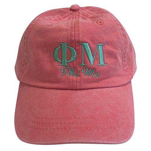 Phi Mu (S) Coral Designer Sorority Baseball Hat Greek Letter Sports Cap with Sea Foam Thread One Size Adjustable - Add Mu