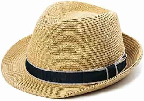 2e34ccbe1dc651 Packable Straw Fedora Panama Sun Summer Beach Hat Cuban Trilby Men Women  55-61cm