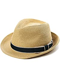 d57eabfdb061d Packable Straw Fedora Panama Sun Summer Beach Hat Cuban Trilby Men Women  55-61cm