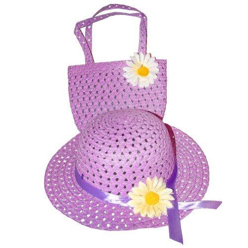 Girls Tea Party Hat and Purse Dress Up Set - Purple -