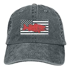 Retro American Flag & Bass Fishing-1 Yarn-Dyed Denim Adjustable Baseball Cap