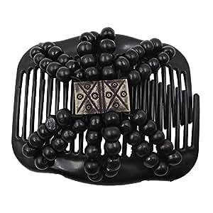 Sanwooden Elegant Magic Hair Comb Fashion Women Wooden Beads Magic Hair Comb Slide Clip Hairpin Style Headwear Hair Ornaments