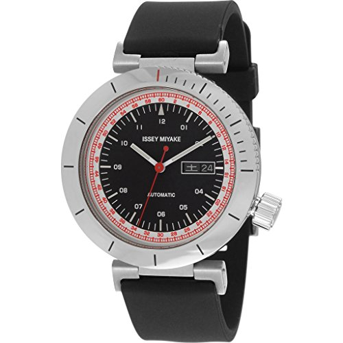 ISSEY MIYAKE Men's 'W' Japanese Automatic Stainless Steel and Polyurethane Casual Watch, Color:Black (Model: NYAE002Y)