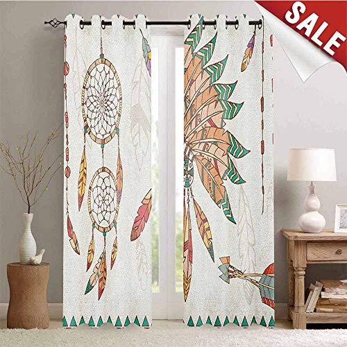 Feather, Blackout Window Curtain, Primitive Chief Headdress Arrows