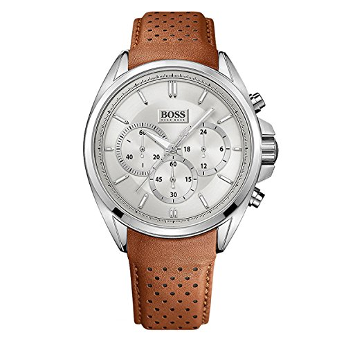 Hugo Boss Men's Chronograph Driver Brown Leather Strap Watch 44mm 1513118