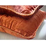 """Designer Rust Accent Pillows, Velvet Beaded Cord Throw Pillows Cover, 20""""x20"""" Pillow Cover, Solid Contemporary Throw Pillows Cover, Square Velvet Throw Pillows Cover - Rust Shimmer"""
