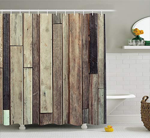 Ambesonne Wooden Shower Curtain Set, Antique Old Planks Flooring Wall Picture American Style Western Rustic Panel Graphic Print, Fabric Bathroom Decor with Hooks, 84 Inches Extra Long, Brown