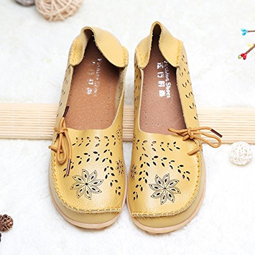 Flat Hollow Out Big Lace Size Violet Yellowish Leather Up amp;HS Breathable Soft Shoes IpIwCa