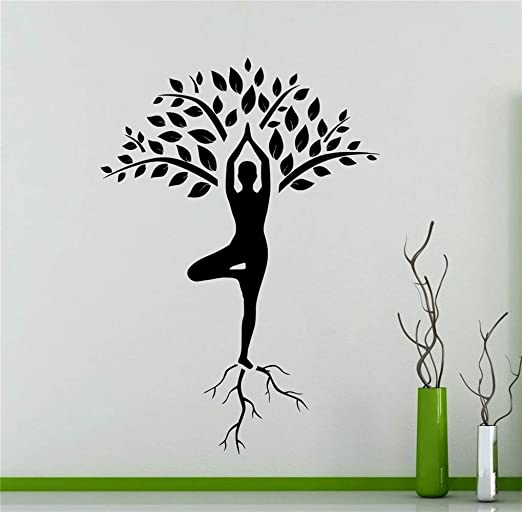 pegatina de pared frases Yoga Tree Girl Roots Fitness Gym ...