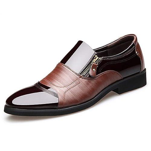 Hombres Oxford Mocasines Negocios Soft Flats Masculino Transpirable Cremallera Zapatos Casuales: Amazon.es: Zapatos y complementos