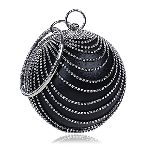 Purse HandBags Wedding Clutch Women's Evening Crystal Flada Silver Shape Color Party Ball Black 0Y1xn1wz