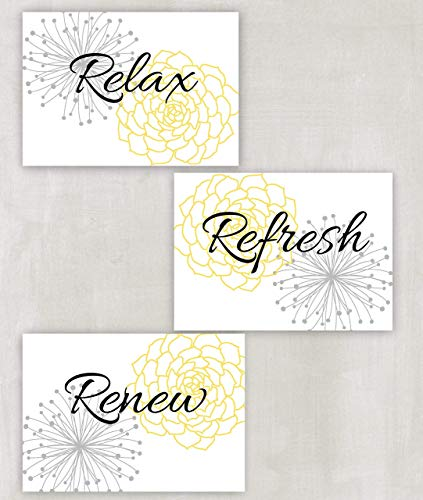 Relax Refresh Renew Floral Wall Art in Yellow, Grey and White Set of 3 5x7 or 8x10 Prints ((unframed)) -