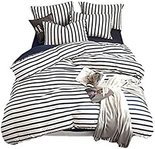 Lausonhouse Quilt Cover Set,100% Cotton Jersey Weave Stripe Doona Cover Set - (Queen,Navy Stripe)