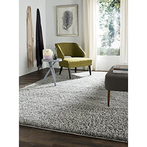 Safavieh Athens Shag Collection SGA119F Light Grey Area Rug, 8 feet by 10 feet (8' x 10')