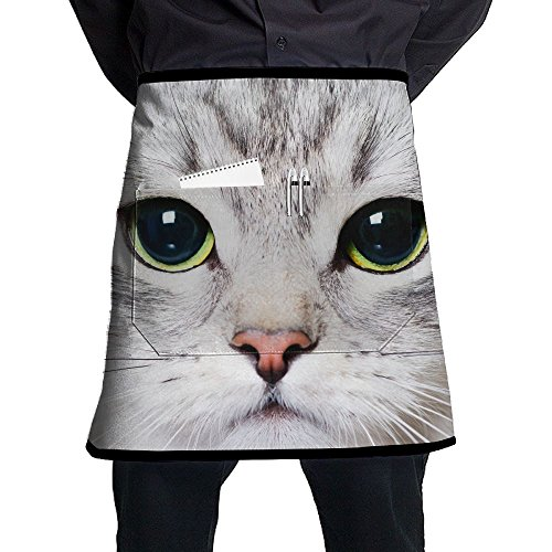 (XiHuan Grill Aprons Kitchen Chef Bib Close Up Portrait Of A Kitten With Big Green Eyes Professional For BBQ Baking Cooking For Men Women Pockets)