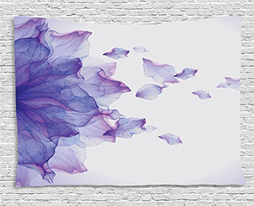 Flower Decor Tapestry by Ambesonne, Abstract Themed Modern Futuristic Image with Water like Colored Art Print, Wall Hanging for Bedroom Living Room Dorm, 60 W X 40 L Inches, Lilac and Pink - Water Wall Tapestry
