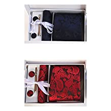MENDENG Men's Red Blue Paisley Necktie Pocket Square Cufflinks Tie Clip 2 Sets