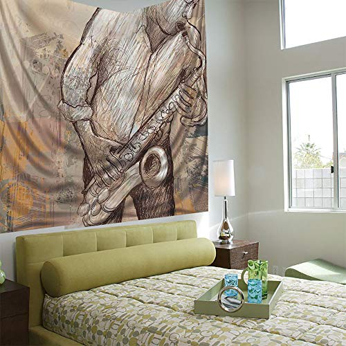 Tapestry Wall Hanging 3D Printing Tree Tapestry Wall TapestryLiving Room Bedroom,Jazz Music Decor,Jazz Musician Playing the Saxophone Solo in the Street on Grunge Background Art Print,Brown Ecru