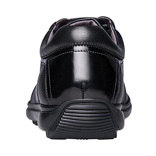 Leather ZRO Sneaker Flats Leisure Shoes up Lace Mens Black fCfqwEA