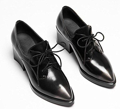 correa manera la BLACK de mujeres punteados con NSGG black alto con Zapatos 41 de cuero de de zapatos 35 las nuevos la grado los nnCvq0F