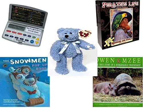 Children's Gift Bundle - Ages 6-12 [5 Piece] - Electronic New York Times Trivia Quiz Game - Pirate's Life Redbeard & Paully Puzzle 550 Piece - Ty Attic Treasures Bluebeary The Bear 8