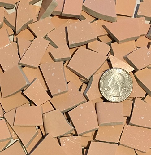 50+ Mosaic Tile Art Supply for Mosaics & Crafts ~ Pale Orange Pink Tiles (T#577) by J Pepper's Art By Hand