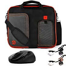 RED TRIM BLACK Pindar Durable Water-Resistant Nylon Protective Carrying Case Messenger Shoulder Bag For Asus Eee PC 10-Inch Notebook Netbook Laptop 1001PQ / 1001PX / 1001PXD / 1015P / 1011CX / 1015CX / 1015PN / 1015T / 1025C / 1025CE / 1011PX / 1015PD / 1015PE / 1015PED / 1015PEM / 1015PX / 1016P / 1015B / 1015BX + Black Cable Organizer + Brown Cable Organizer + Black Wireless Laser 2.4Ghz Mouse w/ BACK and FORWARD Buttons