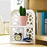 Storage Tower Desktop Shelf Desk Storage Unit Student Combination Bookcase Drawer Household(White,2 Layer)