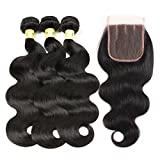 virgin brazilian hair 3 bundles - Mureen Brazilian Hair With Closure 8A 3 Bundles Body Wave Virgin Human Hair Bundles With Lace Closure 100% Unprocessed Hair Extensions Natural Black Color (10 12 14 + 10, Three Part)