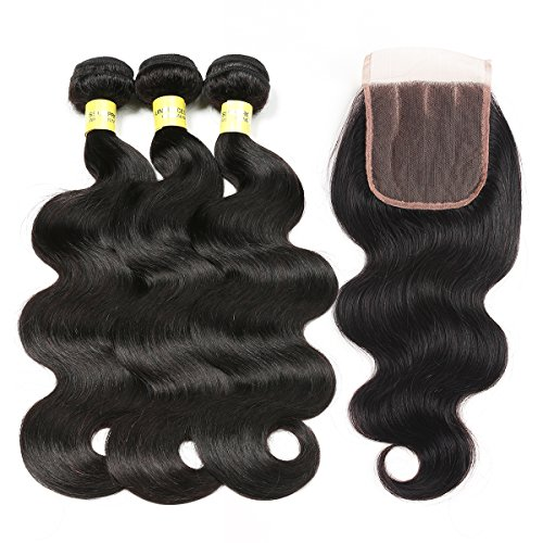 Mureen Brazilian Hair With Closure 8A 3 Bundles Body Wave Virgin Human Hair Bundles With Lace Closure 100% Unprocessed Hair Extensions Natural Black Color (20 22 24 + 18, Three Part) by Mureen