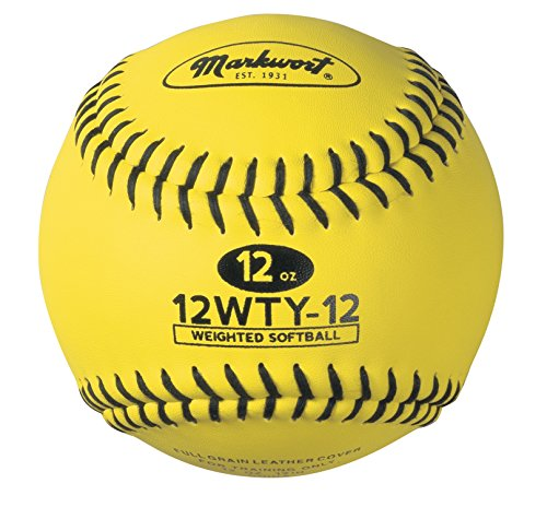 Markwort Lite Weight and Weighted Leather Softball, Optic Yellow, 12-Ounce