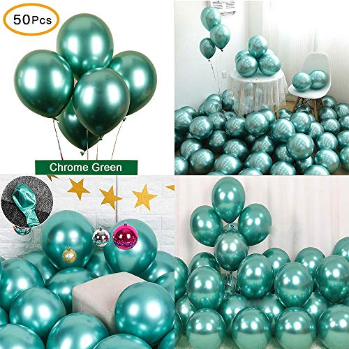 Chrome Metallic Balloons for Parties 12 inch 50 Pcs Latex Thicken Balloon Perfect Decoration for Wedding Birthday Baby Shower Graduation Christmas Carnival Party - Teal -