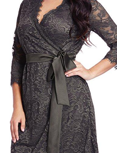 LookbookStore Women's Plus Size Grey Lace 3/4 Sleeves Formal True Wrap Dress 2X