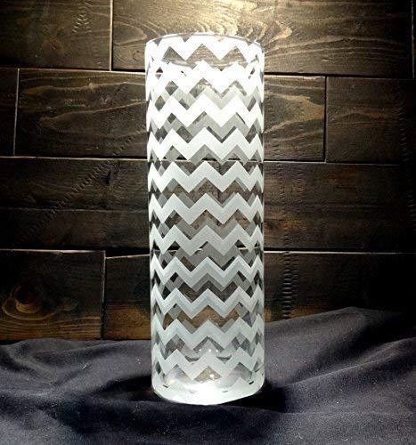 (Chevron Etched Glass Vase)