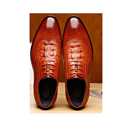 di Fascia Cuoio Oxford da Alta Nuovo Uomo Formale Scarpe Brown Inghilterra Scarpe Affari Lavorato Brock Abbigliamento Scarpe qnEH6wxB4