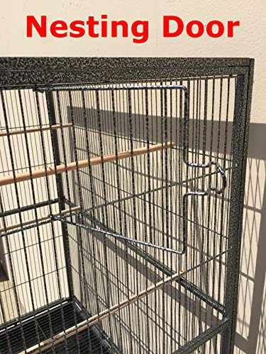Mcage Large Double Flight Bird Wrought Iron Double Cage w/Slide Out Divider 3 Levels Bird Parrot Cage Cockatiel Conure Bird Cage 63 Lx19 Dx64 H W/Stand on Wheels (63 Lx19 Dx64 H, Black Vein)