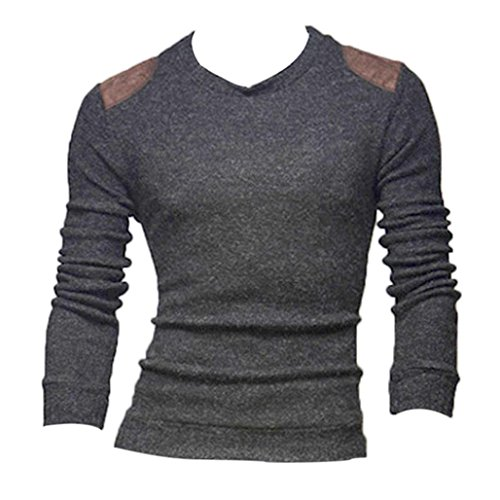 Men Polo Shirts,Leegor Casual Patch Knitting Sweater Slim Collar Tops Blouse (M, Gray)
