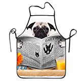 Funny Pug Dog Adjustable Apron For Kitchen Garden Cooking Grilling Lady's Men's Great Gift For Wife Ladies Men Boyfriend