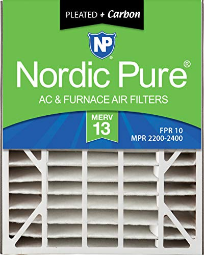 Nordic Pure 20x25x5 (4-7/8 Actual Depth) MERV 13 Plus Carbon Trion Air Bear Replacement AC Furnace Air Filter, Box of 4