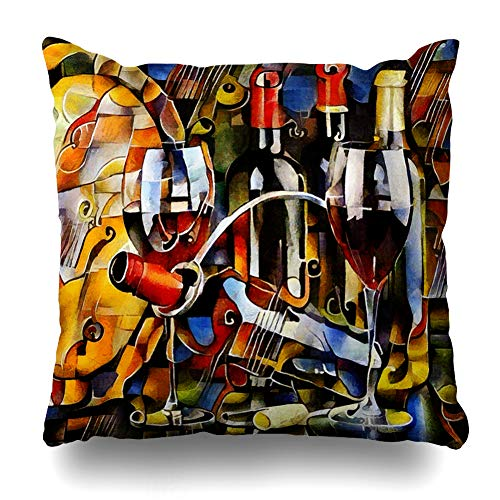 Ahawoso Decorative Throw Pillow Cover Bottles Oil Wine Cubism Glasses Premium Painting Food Drink Watercolor Creative Design Gouache Home Decor Pillowcase Square Size 18