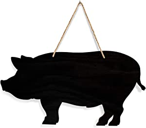 Rustic Farmhouse Decor Pig Chalkboard - Country Kitchen Style Real Wood Wall Art, Best as a Message Chalk Board & Perfect as Pig Gifts. Great for Home, Farm, Restaurant or Diner.