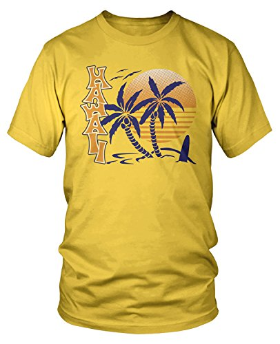 Sunset Yellow T-shirt - Amdesco Men's Hawaii Sunset and Palm Trees T-shirt, Yellow Medium