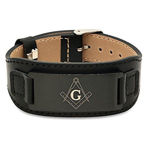 Stainless Steel With PU Leather Masonic Logo Bracelet (Logo Bracelet Mens)