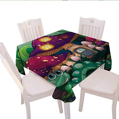 haommhome Mushroom Plaid Tablecloth Illustration of a Long Worm Near Mushroom Houses Fictional Cute Little Creatures Wedding Banquet Tablecloth 70