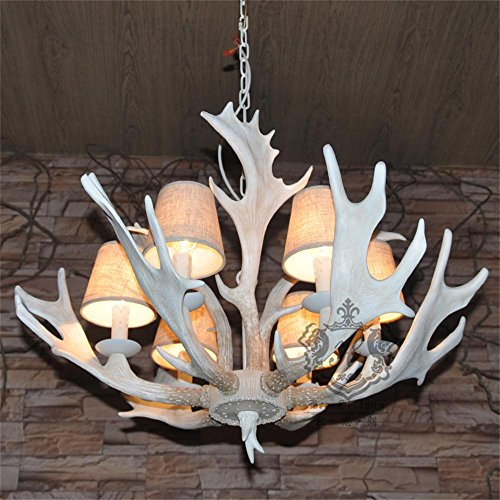 TOYM US- Parlor Bar cafe creative personality retro resin antler chandelier six Mediterranean ( Color : 6 White Lights (with Lampshade) )