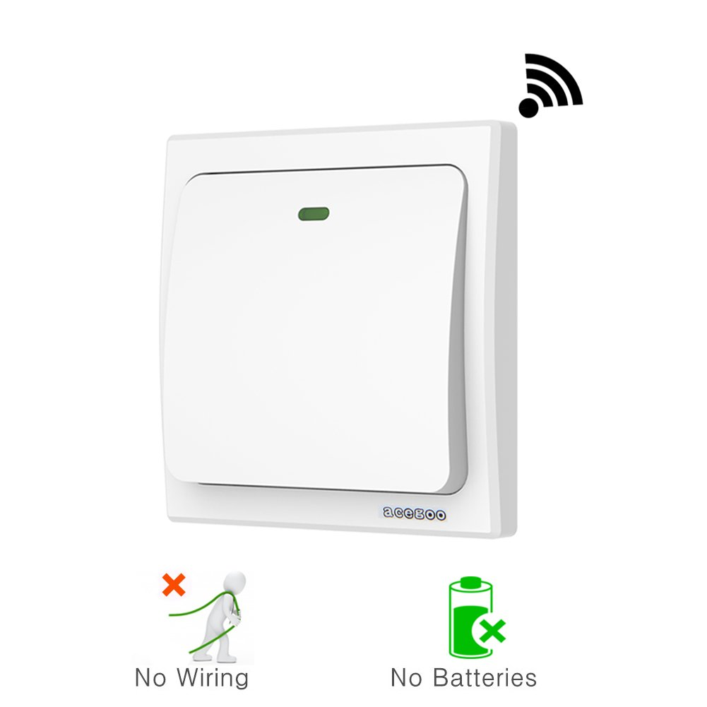 Acegoo Kinetic Light Switch Self Powered Transmitter No Wiring Lighting Battery Wifi Required Work With Receiver Remote Control House Appliances
