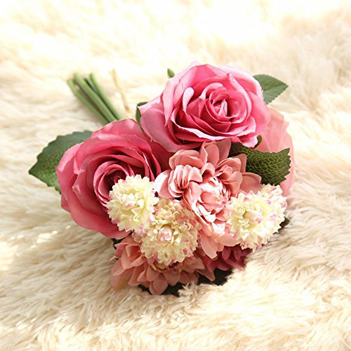 Meiliy 1 Bunch 8 Pcs Artificial Rose Dahlia Daisy Flower Bouquet Bride Bridesmaid Holding Flowers For Home Hotel Office Wedding Party Garden Craft Art Decor, Elegant Princess Red (Flower 1)