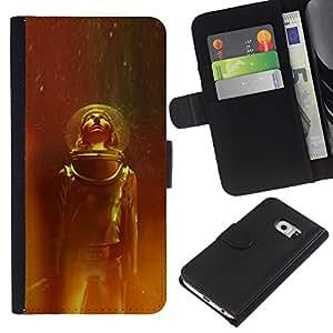 ZCell / Samsung Galaxy S6 EDGE / Space Suit Travel Stars Universe Helmet Cosmos / Caso Shell Armor Funda Case Cover Wallet / Espacio Traje Viajes